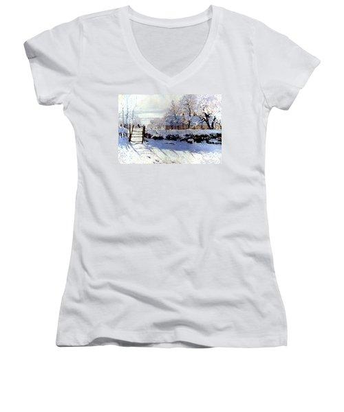 Claude Monet: The Magpie Women's V-Neck T-Shirt (Junior Cut) by Granger