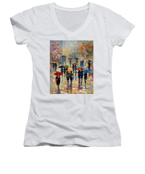 Cloudy Day Women's V-Neck T-Shirt (Junior Cut) by Andre Dluhos