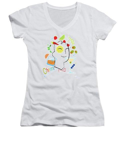 Cocktail Time Women's V-Neck T-Shirt (Junior Cut) by Lisa Henderling