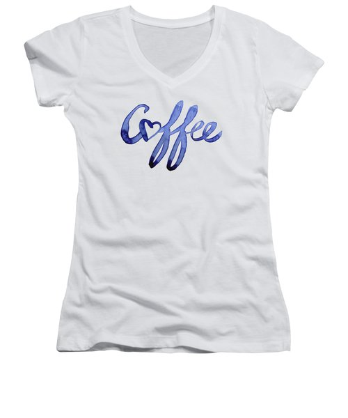 Coffee Love Women's V-Neck T-Shirt (Junior Cut) by Olga Shvartsur