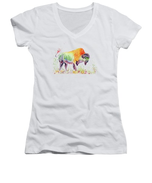 Colorful American Buffalo Women's V-Neck T-Shirt (Junior Cut) by Melly Terpening