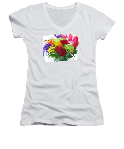 Colorful Bouquet Women's V-Neck T-Shirt (Junior Cut) by Kathy Moll