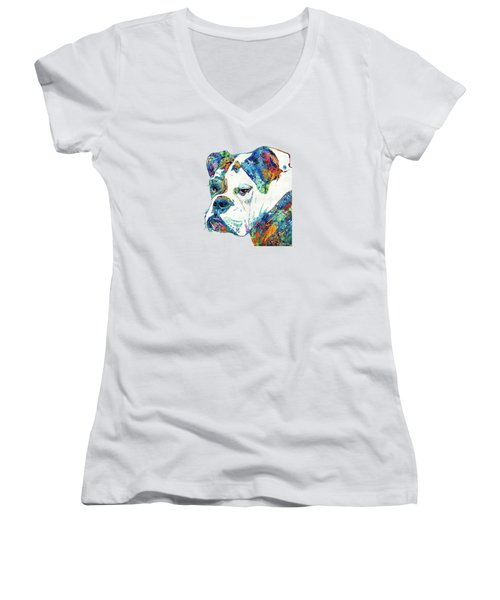 Colorful English Bulldog Art By Sharon Cummings Women's V-Neck T-Shirt (Junior Cut) by Sharon Cummings