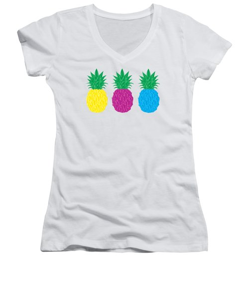 Colorful Pineapples Women's V-Neck T-Shirt (Junior Cut) by Leah Hawkins