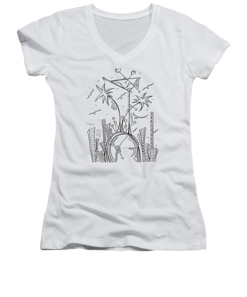 Coloring Page With Beautiful City Martini Drawing By Megan Duncanson Women's V-Neck T-Shirt (Junior Cut) by Megan Duncanson
