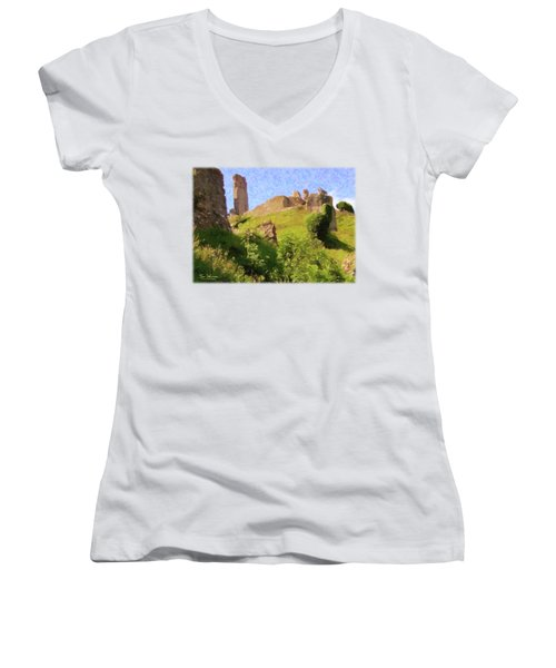 Corfe Castle Women's V-Neck T-Shirt (Junior Cut) by Jon Delorme