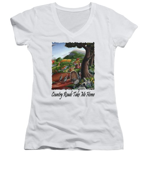 Country Roads Take Me Home - Turkeys In The Hills Country Landscape 2 Women's V-Neck T-Shirt (Junior Cut) by Walt Curlee