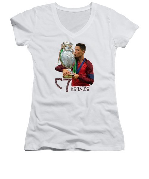 Cristiano Ronaldo Women's V-Neck T-Shirt (Junior Cut) by Armaan Sandhu