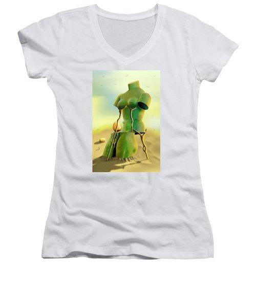 Crutches 2 Women's V-Neck T-Shirt (Junior Cut) by Mike McGlothlen