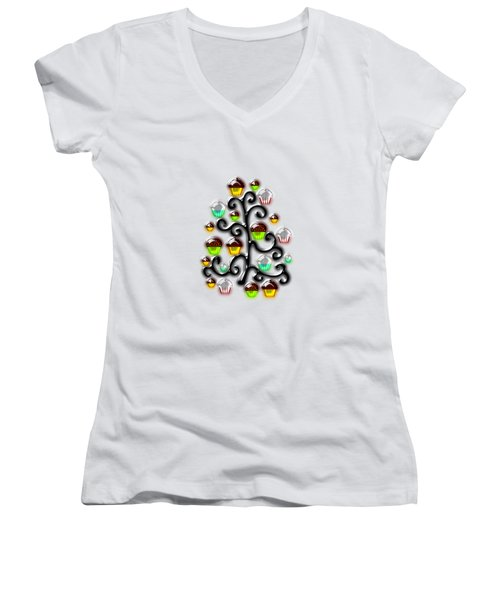 Cupcake Glass Tree Women's V-Neck T-Shirt (Junior Cut) by Anastasiya Malakhova