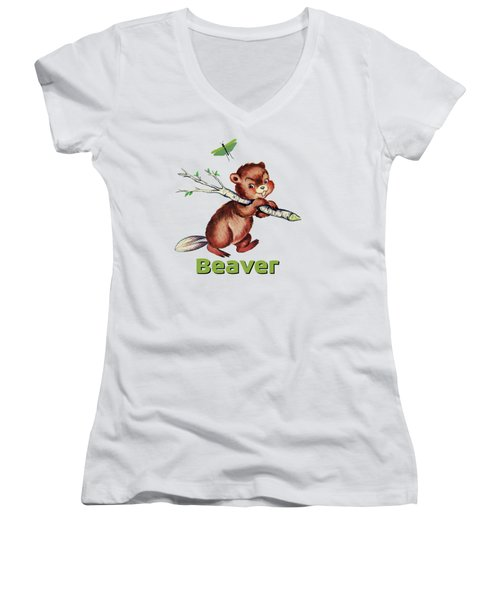 Cute Baby Beaver Pattern Women's V-Neck T-Shirt (Junior Cut) by Tina Lavoie