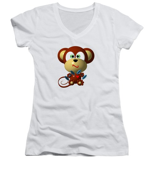 Cute Monkey Lifting Weights Women's V-Neck T-Shirt (Junior Cut) by Rose Santuci-Sofranko