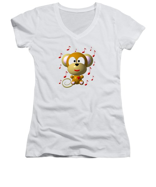 Cute Musical Monkey Women's V-Neck T-Shirt (Junior Cut) by Rose Santuci-Sofranko