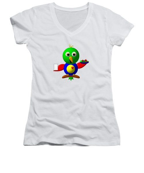 Cute Parrot With Healthy Salad And Milk Women's V-Neck T-Shirt (Junior Cut) by Rose Santuci-Sofranko