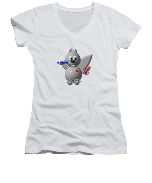 Cute Squirrel Brushing It's Hair And Teeth Women's V-Neck T-Shirt (Junior Cut) by Rose Santuci-Sofranko
