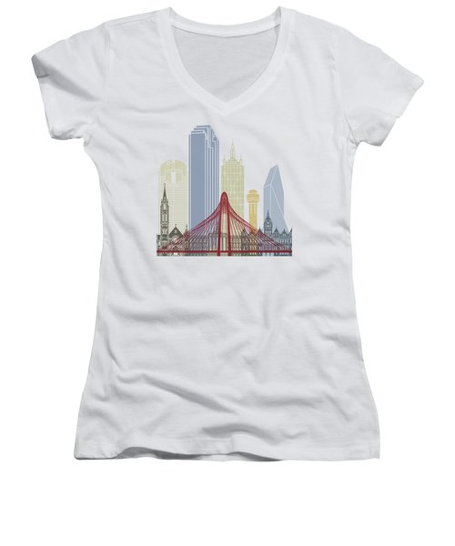 Dallas Skyline Poster Women's V-Neck T-Shirt (Junior Cut) by Pablo Romero
