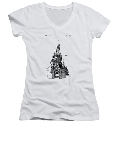 Disneyland Castle Patent Art Women's V-Neck T-Shirt (Junior Cut) by Safran Fine Art