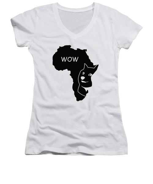 Dogecoin In Africa Women's V-Neck T-Shirt (Junior Cut) by Michael Jordan
