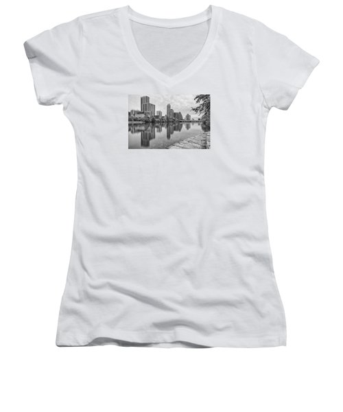 Downtown Austin In Black And White Across Lady Bird Lake - Colorado River Texas Hill Country Women's V-Neck T-Shirt (Junior Cut) by Silvio Ligutti