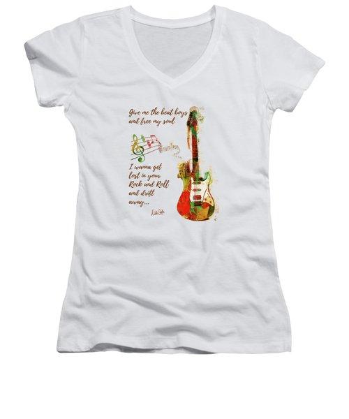 Drift Away Women's V-Neck T-Shirt (Junior Cut) by Nikki Marie Smith
