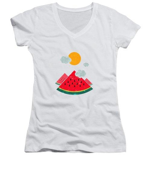 Eatventure Time Women's V-Neck T-Shirt (Junior Cut) by Mustafa Akgul
