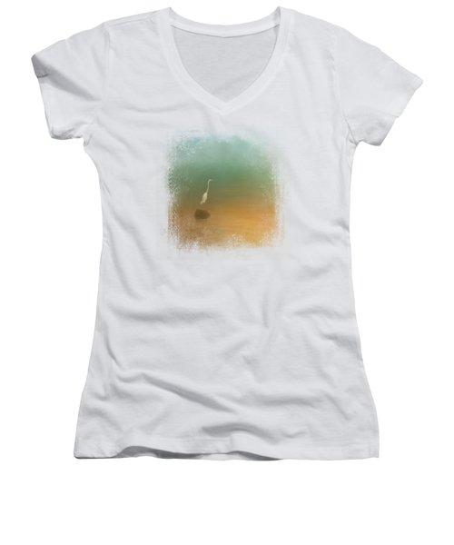 Egret At Sea Women's V-Neck T-Shirt (Junior Cut) by Jai Johnson