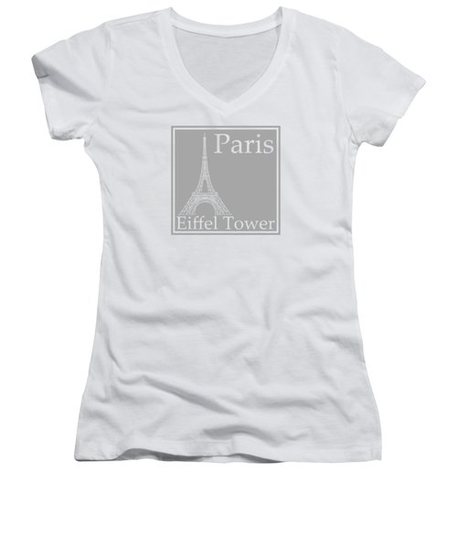Eiffel Tower In Gray Women's V-Neck T-Shirt (Junior Cut) by Custom Home Fashions