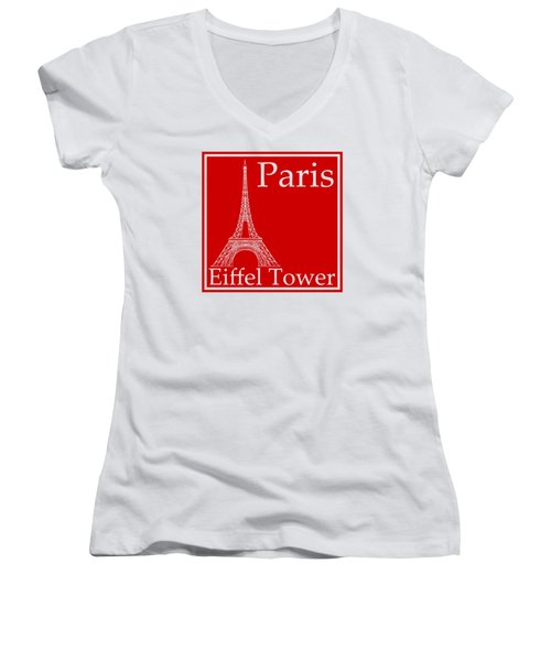 Eiffel Tower In Red Women's V-Neck T-Shirt (Junior Cut) by Custom Home Fashions