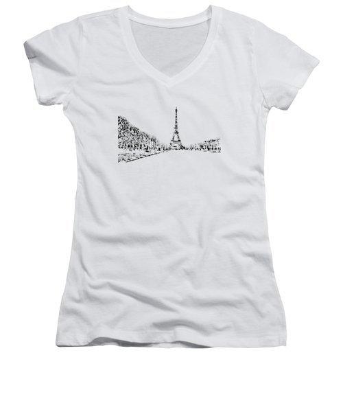 Eiffel Tower Women's V-Neck T-Shirt (Junior Cut) by ISAW Gallery