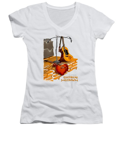 Electrical Meltdown Se Women's V-Neck T-Shirt (Junior Cut) by Mike McGlothlen