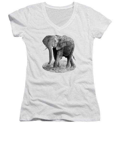 Elephant Happy And Free In Black And White Women's V-Neck T-Shirt (Junior Cut) by Gill Billington