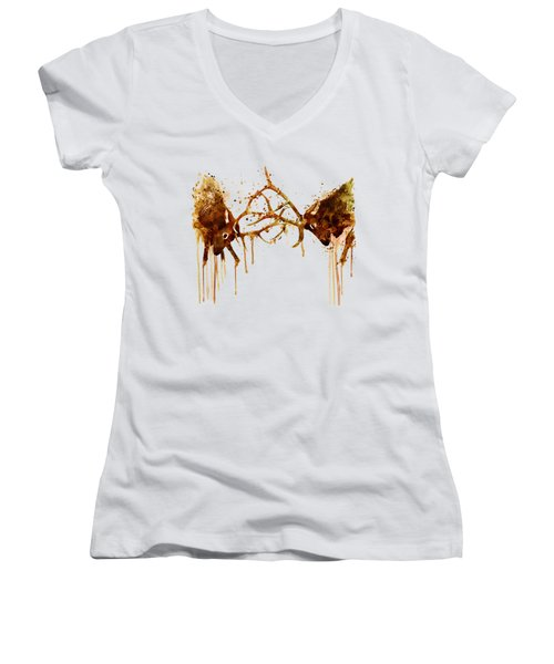 Elks Fight Women's V-Neck T-Shirt (Junior Cut) by Marian Voicu