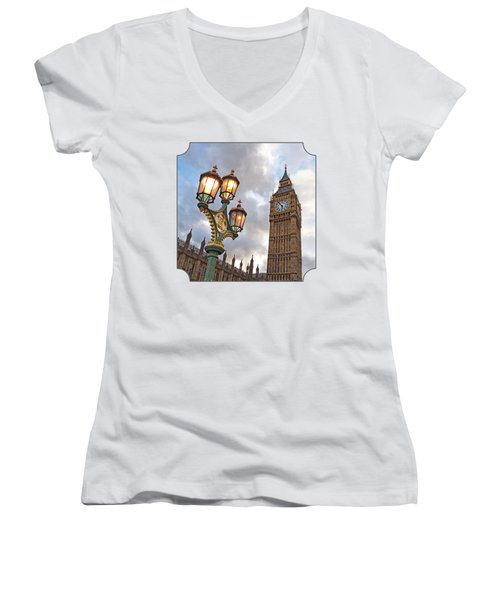 Evening Light At Big Ben Women's V-Neck T-Shirt (Junior Cut) by Gill Billington