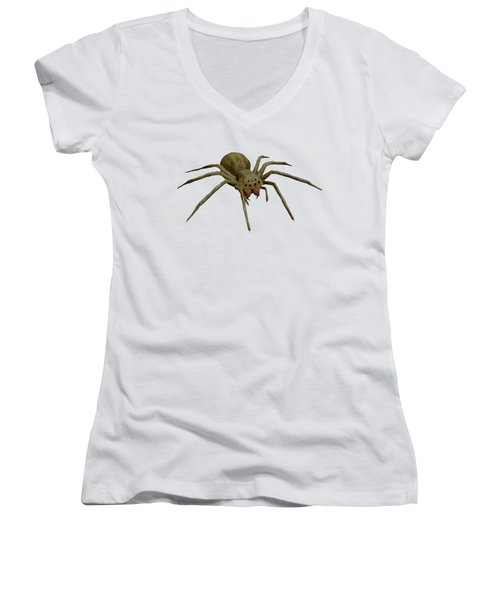 Evil Spider Women's V-Neck T-Shirt (Junior Cut) by Martin Capek