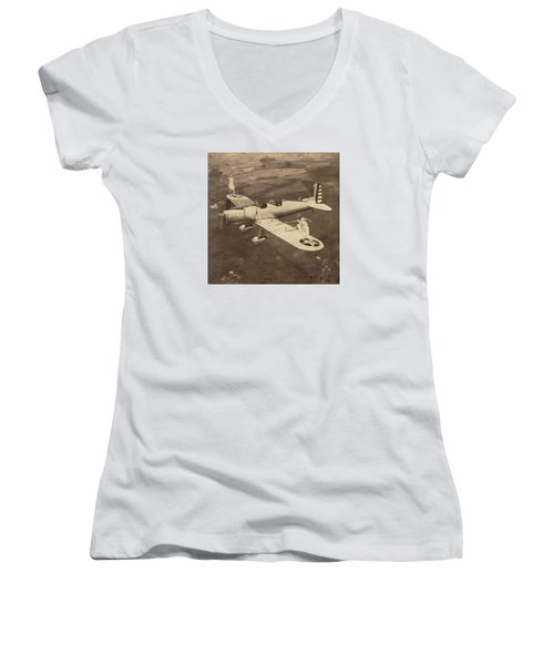 Extreme Tennis Women's V-Neck T-Shirt (Junior Cut) by Marian Voicu