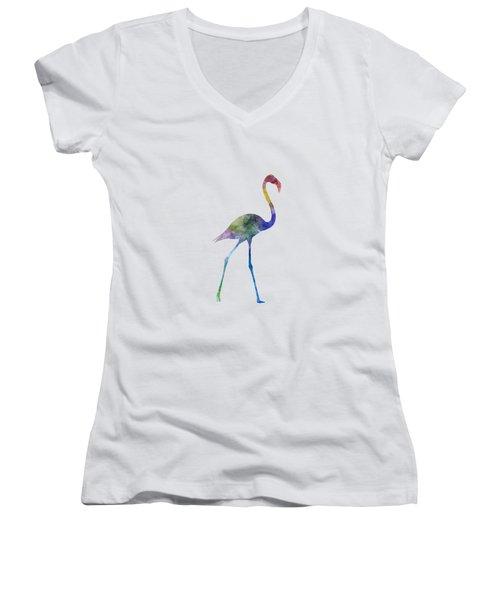 Flamingo 01 In Watercolor Women's V-Neck T-Shirt (Junior Cut) by Pablo Romero