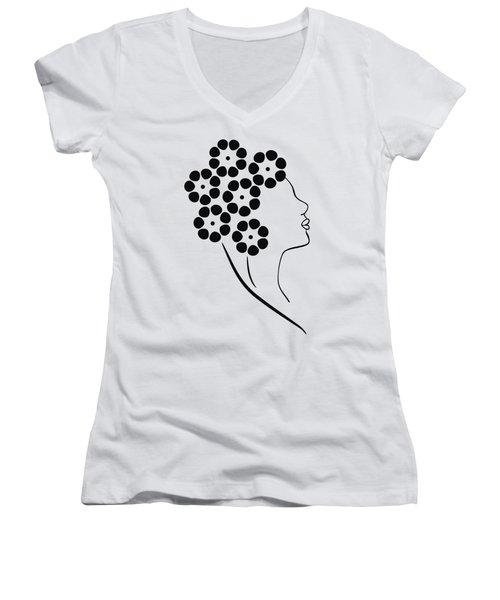 Flower Girl Women's V-Neck T-Shirt (Junior Cut) by Frank Tschakert