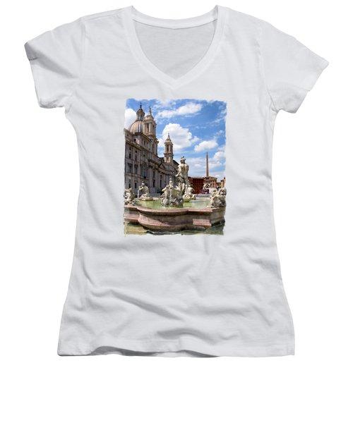 Fontana Del Moro.rome Women's V-Neck T-Shirt (Junior Cut) by Jennie Breeze