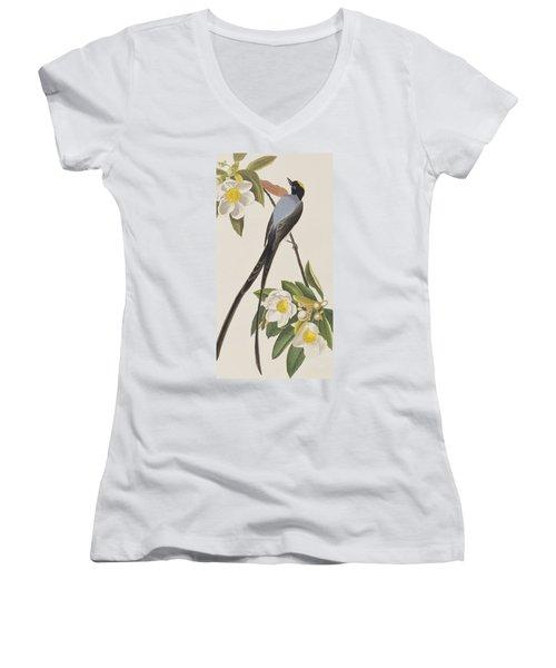 Fork-tailed Flycatcher  Women's V-Neck T-Shirt (Junior Cut) by John James Audubon