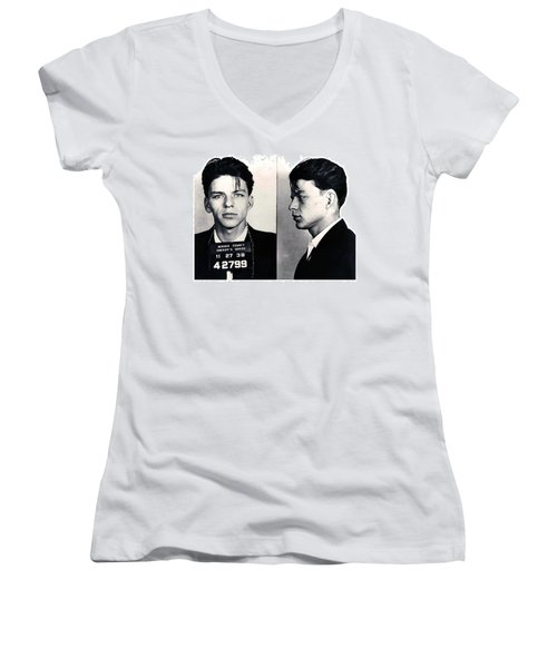 Frank Sinatra Mug Shot Horizontal Women's V-Neck T-Shirt (Junior Cut) by Tony Rubino