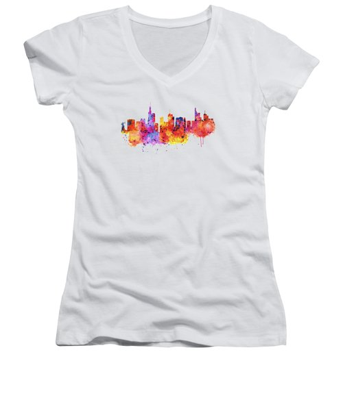 Frankfurt Skyline Women's V-Neck T-Shirt (Junior Cut) by Marian Voicu