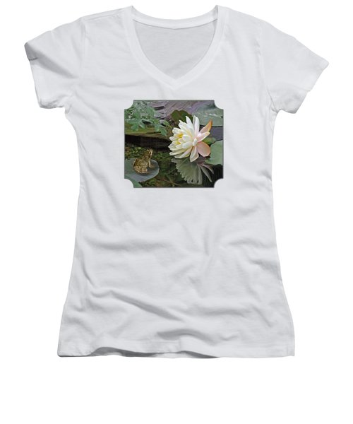 Frog In Awe Of White Water Lily Women's V-Neck T-Shirt (Junior Cut) by Gill Billington