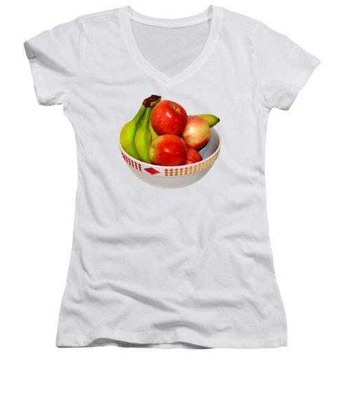 Fruit Bowl Still Life Women's V-Neck T-Shirt (Junior Cut) by William Galloway