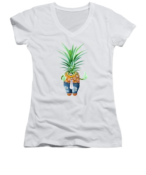 Fun Pineapple  Women's V-Neck T-Shirt (Junior Cut) by Elena Nikolaeva