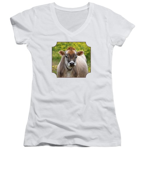 Funny Jersey Cow -square Women's V-Neck T-Shirt (Junior Cut) by Gill Billington