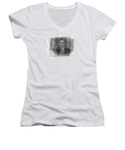 George H. W. Bush Women's V-Neck T-Shirt (Junior Cut) by Steve Socha