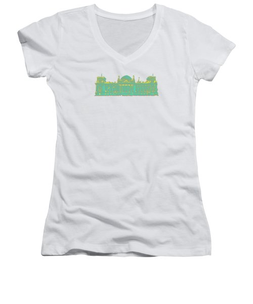 Germany Reichstag Dots Women's V-Neck T-Shirt (Junior Cut) by Frank Hoven
