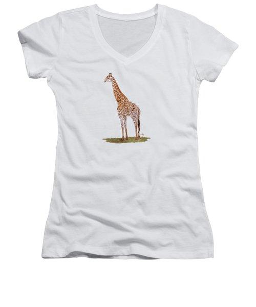 Giraffe Women's V-Neck T-Shirt (Junior Cut) by Angeles M Pomata