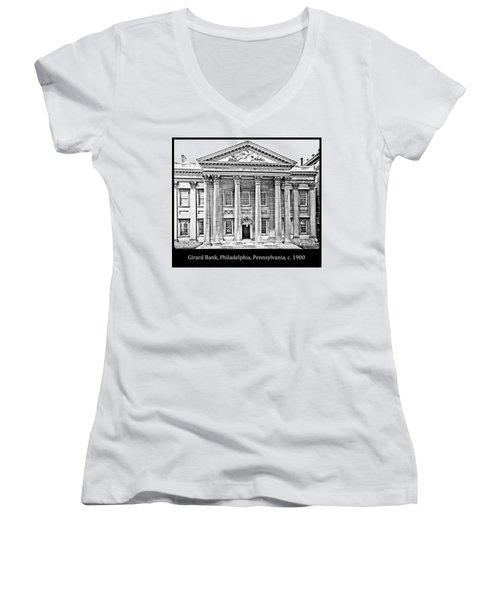 Women's V-Neck T-Shirt (Junior Cut) featuring the photograph Girard Bank Building Philadelphia C 1900 Vintage Photograph by A Gurmankin