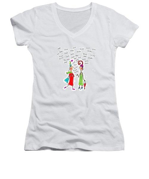 Girl Talk Women's V-Neck T-Shirt (Junior Cut) by Karon Melillo DeVega